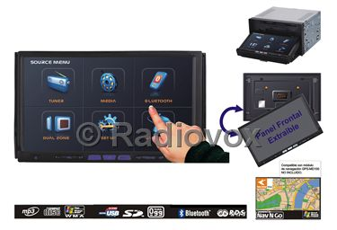 PANTALLA R.CD .DOBLE DIN DVD/MPEG4CD-R/MP3/AM-FM CARATULA EXTRAIBLE